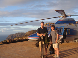 xCREW Producer Michael Harris and Photographer Kevin Ely above the 1200-foot cliffs of Niihau Photo Emele Frieberg2